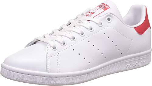 adidas Unisex-Erwachsene Stan Smith Sneakers , Weiß (Running White Ftw/Running White Ftw/Collegiate Red) , 44 2/3