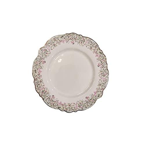 MAGNUS REGALO Plato de postre de porcelana ROSALIE flores blancas y rosas Ø20x2 cm 1