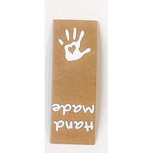 5 x Label Handmade with Love Label Etikett zum einnähen aus Lederimitat Snappap waschbar