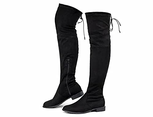 Greatonu Stivali da donna sopra al ginocchio, caldi e invernali, con chiusura lampo laterale, in pizzo, alla moda, Nero 0 98 pollici, 41 EU