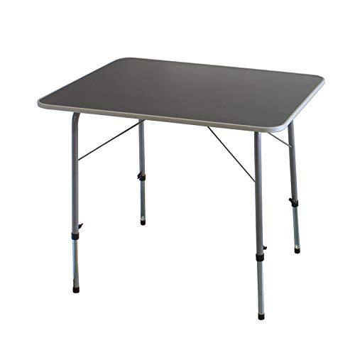Klapptisch 80x60cm höhenverstellbar 50/70cm Aluminium/Kunststoff Silber/Grau Campingtisch Gartentisch Beistelltisch Picknicktisch Alutisch einklappbar