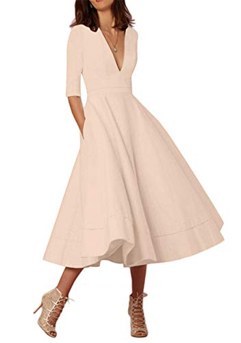 OMZIN Damen Partykleid 1950er Cocktailkleid Vintage Kleid Wadenlanges Abendkleid Plus Größe Khaki XXXL
