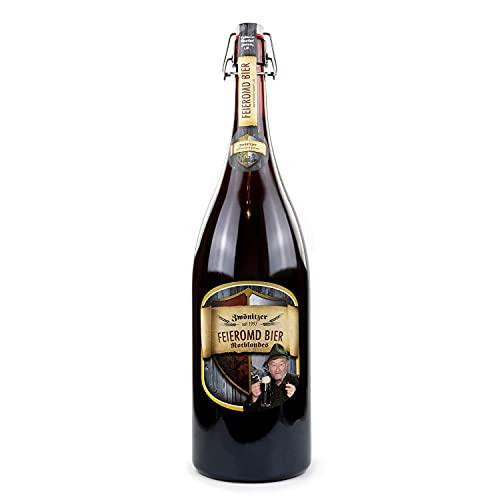 Brauerei Zwönitz Feieromd Bier/Bier Geschenk in der 3 Liter Flasche/Bier Flasche XXL als Vatertagsgeschenk/Bier Geschenke für Männer/XXL Bierflasche Altbier/dunkles Craft Beer / 3 l Flasche