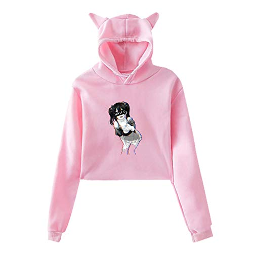Cat Face Blue Eyes Women/'s Girls Hoody Sm 2XL Hooded Top Animal Feline