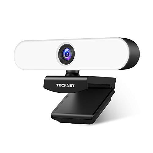 TECKNET Webcam HD 1080P Ringlicht Webkamera mit Dual Mikrofon, PC Kamera mit 3-stufig einstellbare Helligkeit, USB Facecam mit Weitwinkel, kompatibel mit Windows, Mac zum Videochat Konferieren