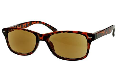 Lesebrillen getönt als Sonnenbrille Damen Herren braun schwarz gepunktet mit Sonnenschutz leicht eckig modern schmal Kunststoff Federbügel 1.0 1.5 2.0 2.5 3.0, Dioptrien:Dioptrien 1.5