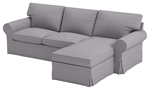 ikea sofas HomeTown Market Sofa Covers Custom Made for IKEA 4 Seat Loveseat Chaise Sectional Corner Slipcovers (Polyester Flax Light Gray, Ektorp 4 Seat Chaise)