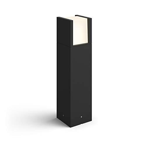 Philips Hue Fuzo Pedestal o sobremuro exterior negro LED inteligente, luz blanca cálida regulable, compatible con Amazon Alexa, Apple HomeKit y Google Assistant