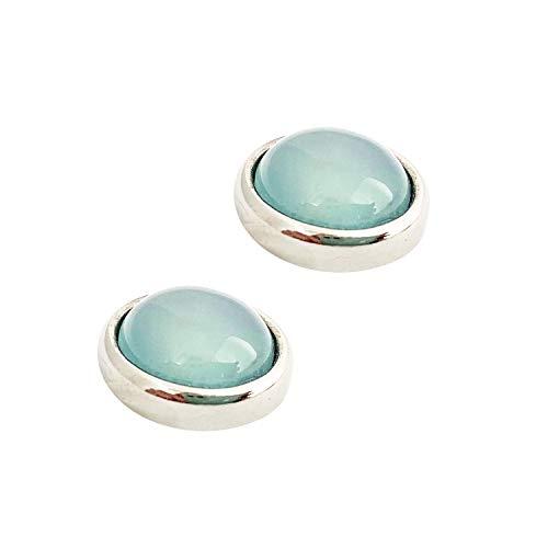 Ohrring ESTHER Magnetverschluß mit Achat Himmel Blau 1,2 cm