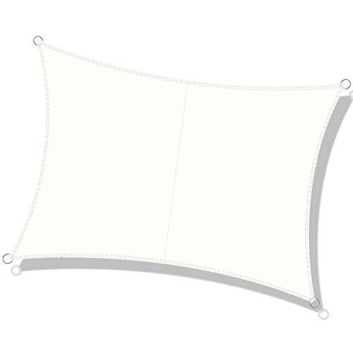 DEXIAO Tenda a Vela Rettangolo Vela ombreggiante Impermeabile Tenda a Vela Parasole Protezione UV per Terrazza Campeggio Giardino Esterno(3 x 4 m, latte)