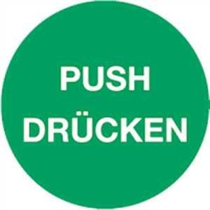 Stickers Push DRUKS folie zelfklevend 5cm Ø (deurstickers, tekst, deurschild) bewezen in de praktijk weerbestendig