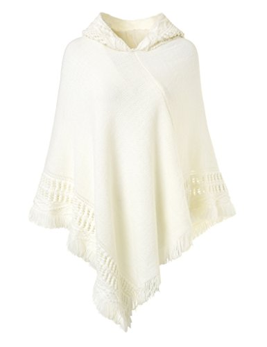 Ferand Damen Kapuzen Poncho mit Häkelborde, Cape für Frauen aus Strickmaterial mit Zierfransen, Weiß