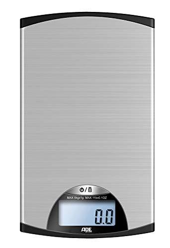 ADE Digitale Küchenwaage KE 850 Kylie. Schmale und besonders flache elektronische Waage für die Küche. Wiegefläche aus Edelstahl. Präzise wiegen bis 5 kg. Zuwiegefunktion. Inklusive Batterie. Silber