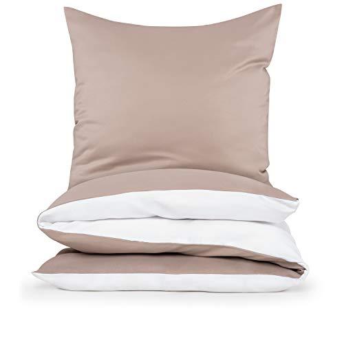 Blumtal beddengoed 140 x 200cm + kussensloop 40 x 80cm – superzachte dekbedovertrekset, 2-delig, Taupe/Wit