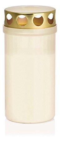 Wiedemann 580702.004 Grablicht mit Deckel Brenndauer Circa 50 Stunden, Wachs, Weiß, 12.6 x 5.9 cm, 20-Einheiten