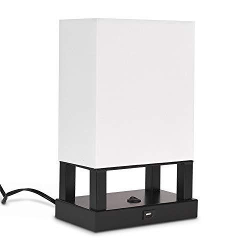 Ledpax Technology Spencer Rectangular 4-Legged Table Lamp with Fabric Shade and USB Charging Station - Black, E12 Base
