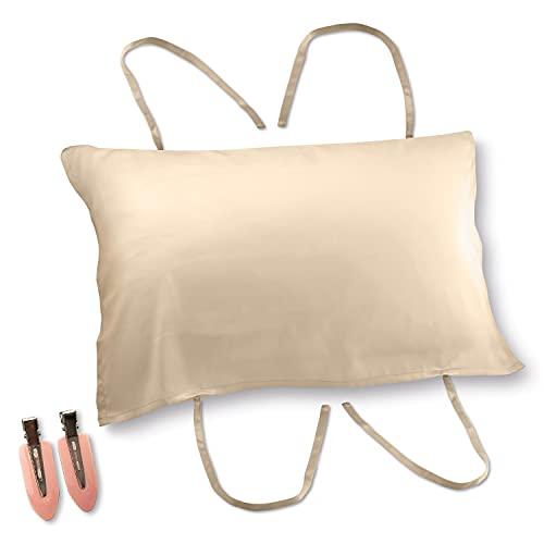 [Amazon限定ブランド] Silknight(シルクナイト)シルク 枕カバー 片面 ピローケース 43x63 まくらかばー 19匁 ヘアピン 付 (シャンパンゴールド)