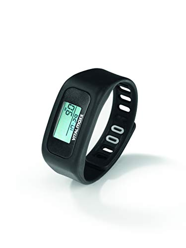 VITALmaxx Fitness Armband mit LCD Display | GPS Fitness Tracker mit Schrittzähler und Kalorienzähler | Fitness Uhr Joggen und Fussball (Schwarz)