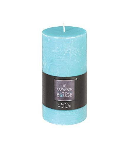 Bougie décorative ronde Rustic - Diam. 7 cm - Bleu