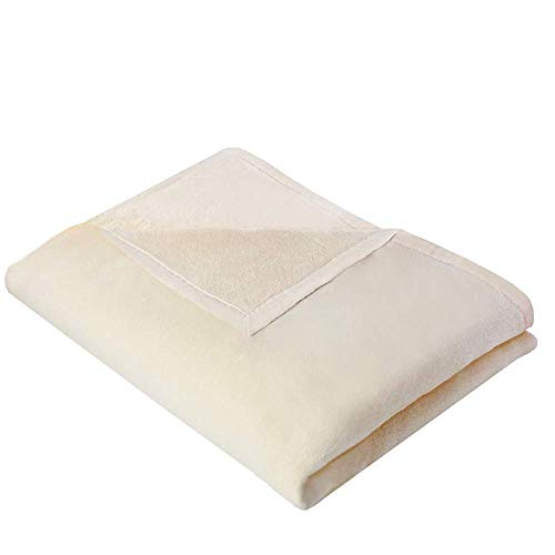 NATUREHOME Wohndecke Ecru OLE 150x200cm Sand - die Kuscheldecke fürs Baby 100% Baumwolle KBA oder Luxus Wohnzimmerdecke