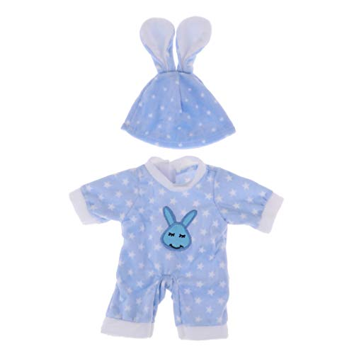 sharprepublic Lindo Mono con Estampado de Estrellas Y Gorro de Orejas de Conejo para Muñeca Mellchan de 25 Cm Accs Azul