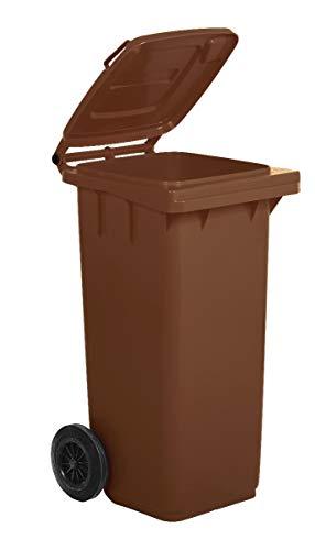 Bidone carrellato per la raccolta differenziata rifiuti Mobil Plastic 120 Lt per uso esterno - marrone (UNI EN 840)