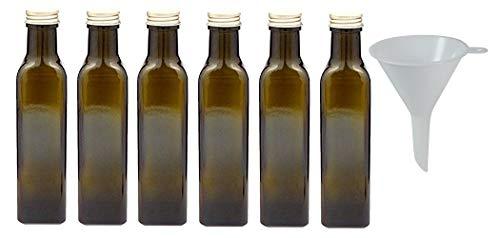 Viva Haushaltswaren - 6 x braune Glasflasche / Ölflasche 250 ml mit goldfarbenem Verschluss, leere Flaschen als Vorratsbehälter & Essigflasche verwendbar (inkl. Trichter Ø 7 cm)