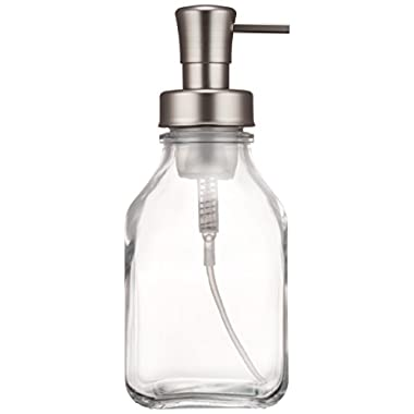 InterDesign Cora Glass Foaming Soap Dispenser Pump for Kitchen or Bathroom Sinks, Clear/Brushed