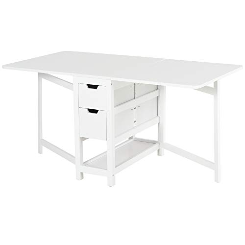 HOMCOM Mesa Extensible de Comedor Estable 2 Tableros Lateral