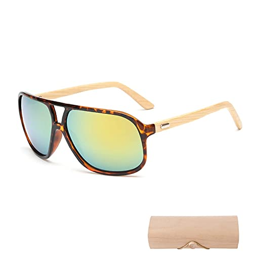 NIUBKLAS Gafas de sol de madera Hombres mujeres bambú cuadrado Mujeres para hombres mujeres Espejo Gafas de sol retro de sol masculino 2017 Hecho a mano con estuche 1-KP1524-C5-CASE