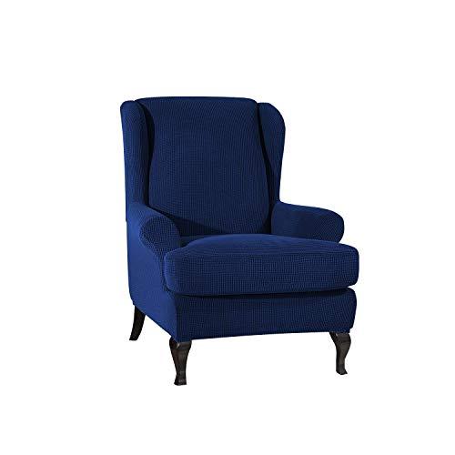 PETCUTE Fundas de sillón con Orejas Fundas de Silla elástica con Cojin Separado Protector de Muebles Jacquard Azul Marino