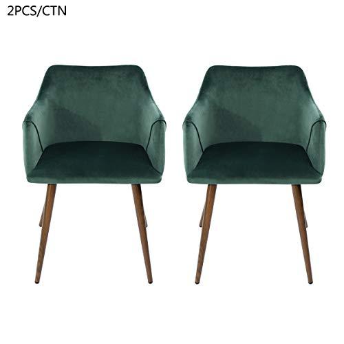 Furnish 1 Set di 2 Poltroncine in Tessuto, 2 Pezzi Sedie da Pranzo, Gambe in Metallo Robust, Verde