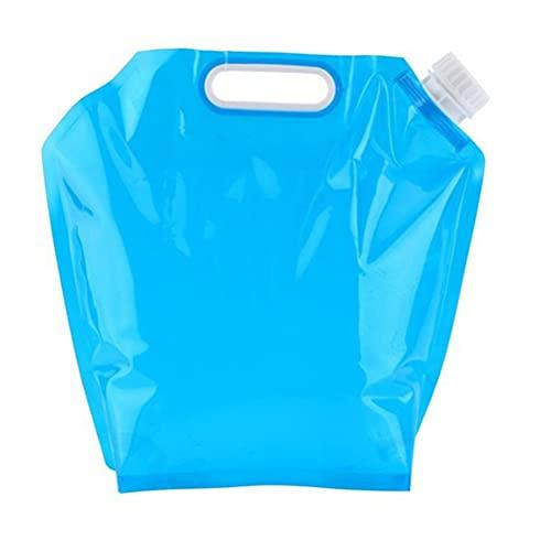 DOITOOL - 2 bolsas de agua de senderismo de montaña de 5 litros y portátiles, plegables y militares, botella de agua plegable, para senderismo, camping al aire libre (azul)