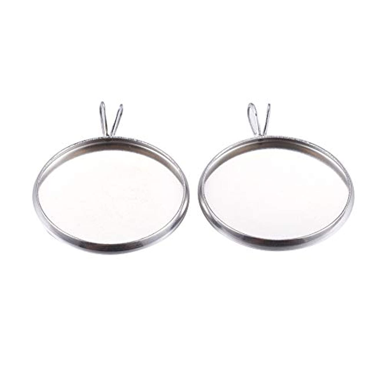 PH PandaHall 50pcs Stainless Steel Cabochon Settings Pendant Flat Round Bezel Pendant Trays Blanks for Necklace Crafts Jewelry Making (Tray: 20mm)