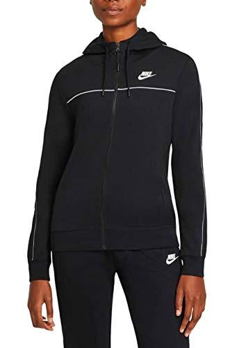 Nike W NSW FZ Hoodie MLNM FLC Gilet, Nero/Bianco, XL Donna