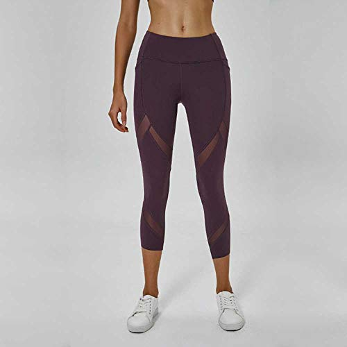 YSHJF Stijl Yoga Broek Vrouwen Hoge Taille Hollow Out Mesh Patchwork Tight Running Legging Boter Glad Gym Fitness