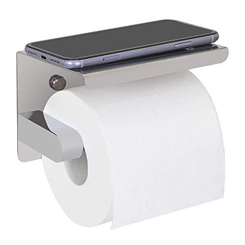 MUFENA Soporte de papel higiénico de acero inoxidable con estante para teléfono móvil, dos instalación de 3M autoadhesivo y montado en la pared para accesorios de cocina de baño