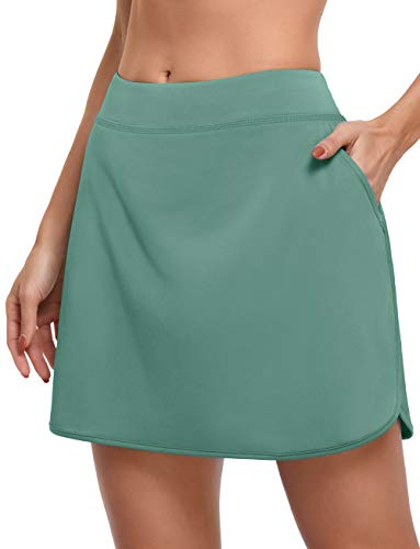 CHICHO Women's Athletic Skorts,Sun Protection Skirt for Girl Breathable Tennis Skort High Waist Golf Skirts with Pockets Breathable Fashion Athletic Dress Office Wear Green Dress Medium