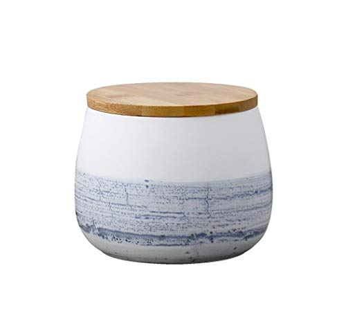MAOWAO Modern Design Food Storage Canister with Airtight Wooden Lid Ceramic Food Storage Canister Matte Food Storage Jar Blue and White 105x105x115mm 700ml