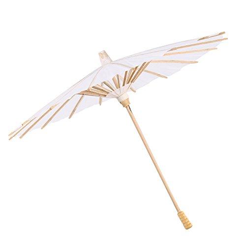 Chinese paraplu van papier met witte houten ribben, decoratieve paraplu, professionele paraplu, kunst display, accessoires voor bruiloften, feestdecoratie, fotografie