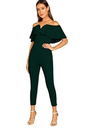 Verdusa Women's Elegant Off Shoulder Ruffle High Waist Long Jumpsuit Green XL