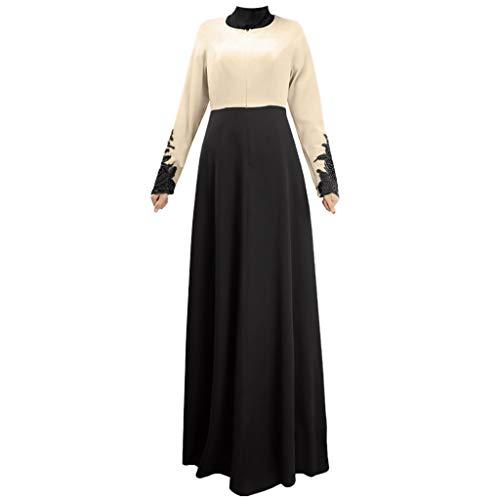 Lazzboy Muslim Single Layer Langer Rock Manschetten Spitzenfarbe Worship Service Damen Lang Kleid Mode Volle Schnalle Spitze Roben Kontrast Einlagig(Schwarz,2XL)