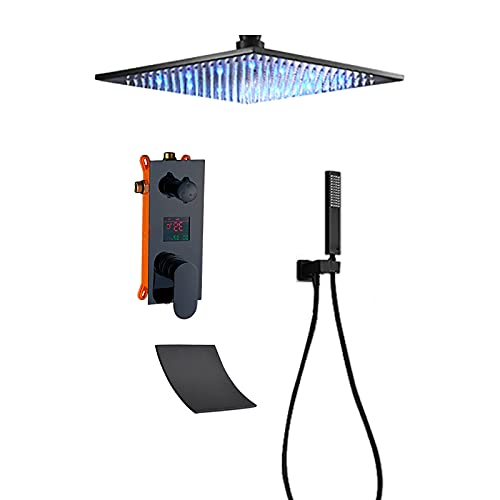 LED-Regenduschsystem mit Digitalanzeige, schwarzer Regenmischer, Dusch-Kombi-Set, Deckenmontage, Badezimmer-Duscharmatur-Set mit Duschkopf, Handbrause, Wasserfall-Wannen-Auslauf, 40,6 cm
