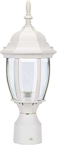 LIT-PaTH Outdoor Post Light Pole Lantern Lighting Fixture with One E26 Base Max 100W, Aluminum Housing Plus Glass, Matte White Finish