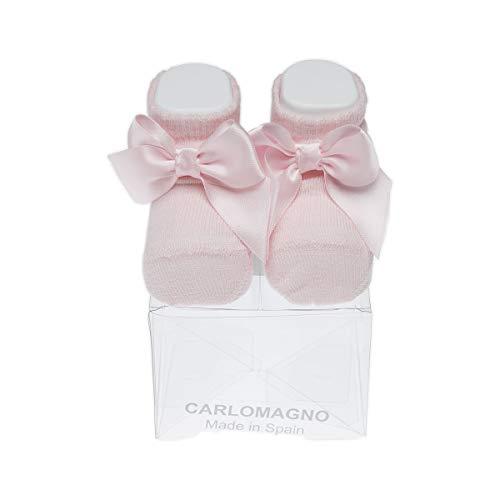 Carlomagno - Calcetín para bottons (1 par), costuras planas con lazo, de algodón, patuco con lazo recien nacido rosa 0 mese