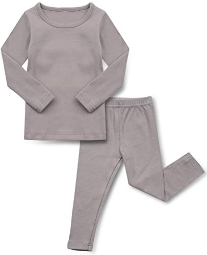 AVAUMA Conjunto de pijama para niños y niñas, ajuste cómodo, básico de algodón, ropa de dormir para uso diario - gris - 5 años