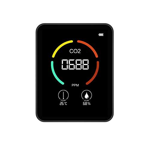 Monitor De Calidad del Aire, Medidor De CO2 Cargable, Detector De Calidad del Aire para CO2, Temperatura, Humedad, Monitor De Dióxido De Carbono De Escritorio Portátil para Oficina En Casa