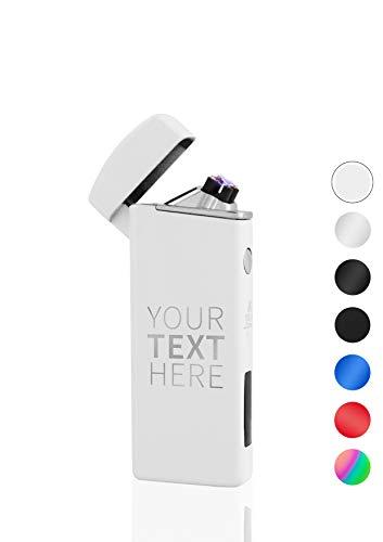 TESLA Lighter T14 Lichtbogen-Feuerzeug, elektronisches USB Feuerzeug, weiß, Double-Arc Lighter, wiederaufladbar, inkl. Lasergravur