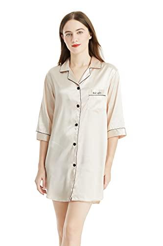 GAESHOW Camisón de satén con botones de manga 3/4 camisón de pijama Top camisón de seda de manga larga camisón de noche de satén de longitud de la rodilla Camisón de dormir para mujer