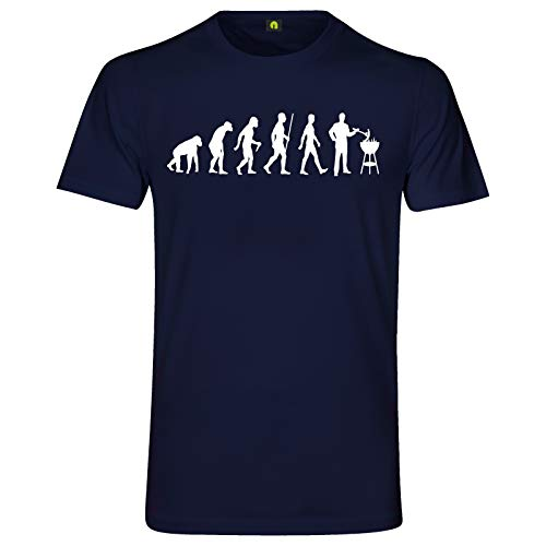Evolution Grillen T-Shirt | Grill | Barbecue | Brutzler | Fleisch | Steak Navy Blau L